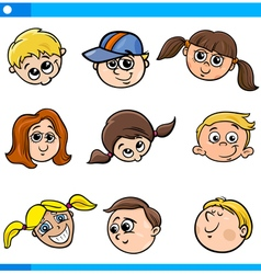 Children characters faces set vector