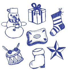 Christmas symbols doodles set vector image
