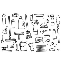 Cleaning tools set cleaning equipment vector