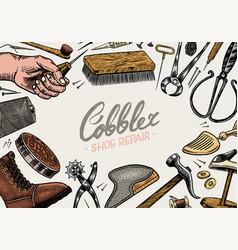 Cobbler background professional equipments vector
