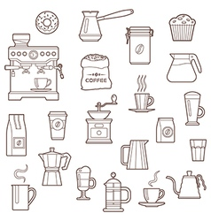 Coffee icon set line vector