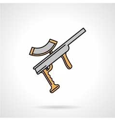 Colored paintball weapon flat icon vector image