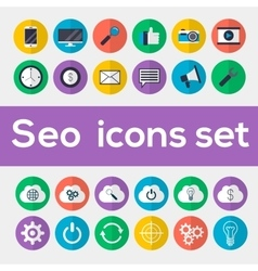 Colorful seo icons set vector