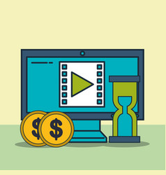 computer video time money digital marketing vector image