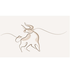 continuous one line drawing bull cow icon vector image