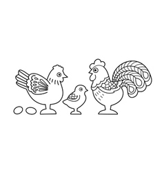 Contour image of stylized cock family vector image
