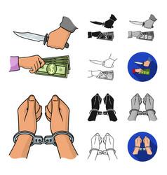 Crime and punishment cartoonblackflatmonochrome vector