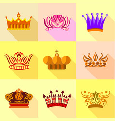 Crown icons set flat style vector