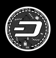 Crypto currency dash black and white symbol vector