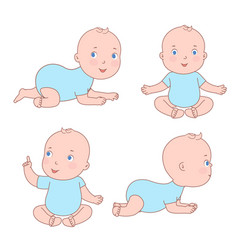 cute baby toddler in various positions newborn vector image