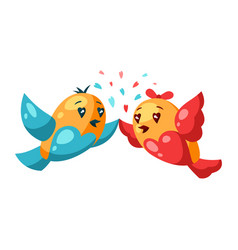 cute couple birds in love valentine day vector image