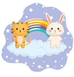 Cute rabbit with rainbow kawaii birthday card vector
