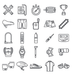 Cycling equipment kit icons set outline style vector