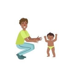 Dad Crouching To Catch Walking Toddler vector
