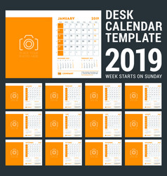 desk calendar design template for 2019 year week vector image