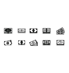 dollar icon set simple style vector image