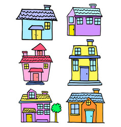 Doodle house style set collection vector