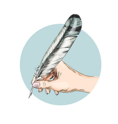 Female hand writing with quill full color vector