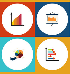 flat icon chart set of monitoring infographic vector image