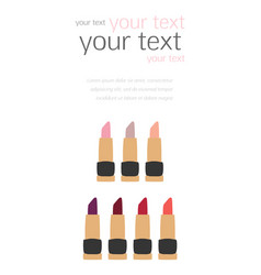 Flat lipstick swatches fashion templates vector
