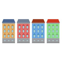 flat style house colored old european buildings vector image