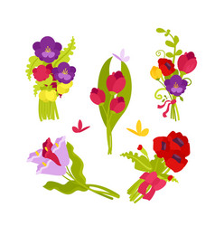 flowers bouquets set vector image
