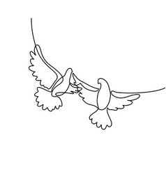 flying two pigeons logo vector image