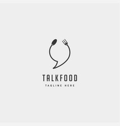 Food message talk chat line outline simple flat vector