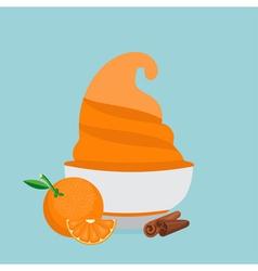Frozen yogurt in the cup with orange and cinnamon vector