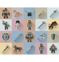 Game Set of Fantasy Warriors vector image