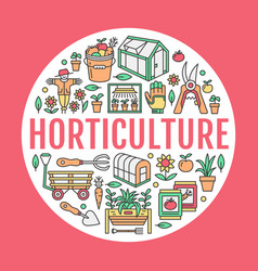 gardening planting horticulture banner with vector image