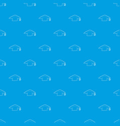 graduation cap pattern seamless blue vector image