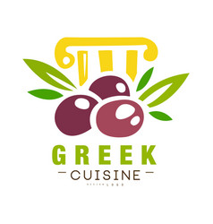 Greek cuisine logo design authentic traditional vector