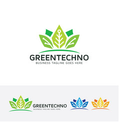 green technology logo design vector image