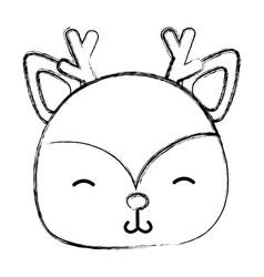grunge shy deer head wild animal vector image