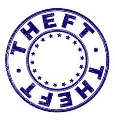 Grunge textured theft round stamp seal vector