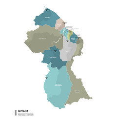 Guyana higt detailed map with subdivisions vector