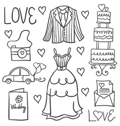 Hand draw style wedding in doodles vector