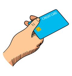 hand giving a credit card vector image