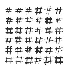 Hashtag and number ink brushed black symbols hand vector