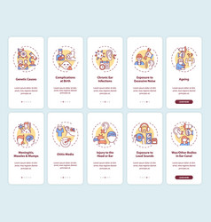 Hearing loss factors onboarding mobile app page vector
