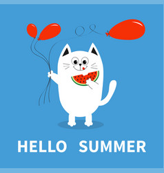 Hello summer white cat holding red balloon vector