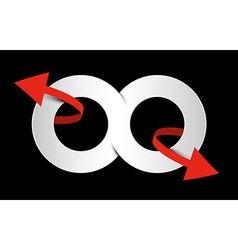Infinity symbol eight - endless paper sign vector