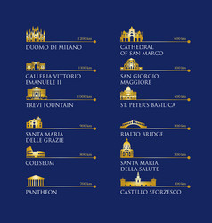 Infographic italy symbols landmarks in gold vector