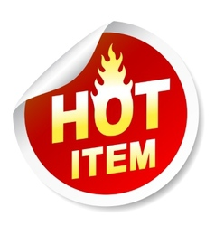 Isolated on white hot item badge with flame vector image
