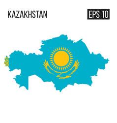 Kazakhstan map border with flag eps10 vector