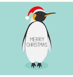 King Penguin Santa red hat Emperor Aptenodytes vector