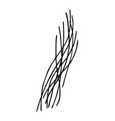 Linear drawing hair strands in doodle style vector