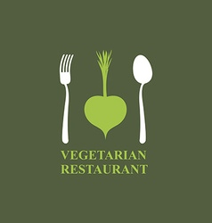 Logo for vegetarian restaurants or cafes Cutlery vector image