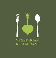Logo for vegetarian restaurants or cafes Cutlery vector